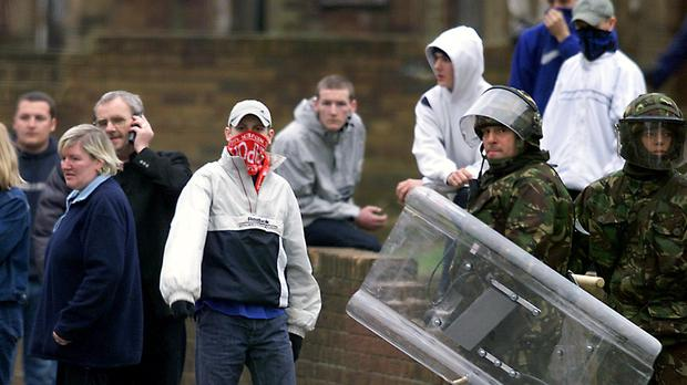 Youths clash in the Limestone Road area of North Belfast