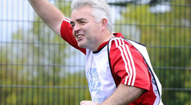 Jonathan Bell playing in a charity five-a-side game at Stormont