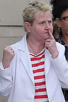 Catherine Strong outside Belfast's Laganside court yesterday
