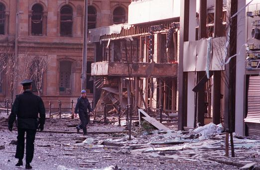 Windsor House after being badly damaged by an IRA bomb in February 1992