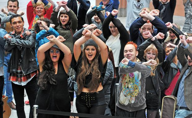 Some of the aspiring pop stars strut their stuff at the X Factor auditions in Victoria Square, Belfast, yesterday