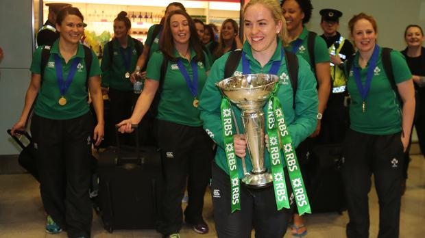 Ireland's women's rugby captain Niamh Briggs holds the Six Nations trophy