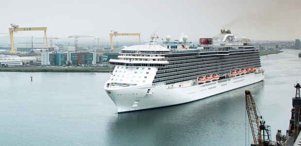 The Royal Princess, which carries 5,000 passengers and crew, arrives in Belfast Harbour