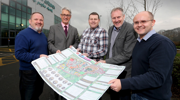 Al McComb, Gateway Social Investments; Mark Nodder, The Wright Group; Mark Donley, Compassion Ministries; pastor Jeff Wright, Green Pastures Church; and Trevor Dunlop, Connect Ministries with plans for the £100m village