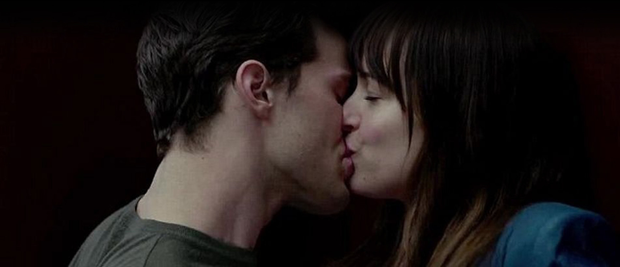 Jamie Dornan and co-star Dakota Johnson in Fifty Shades of Grey