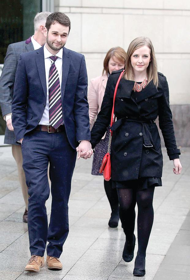 Daniel and Amy McArthur leaving court in March