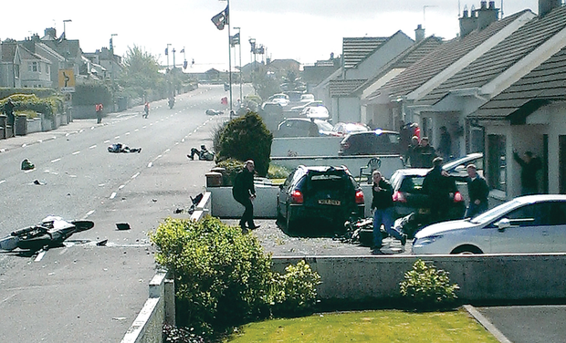 A picture taken moments after the crash captures the chaos at the scene