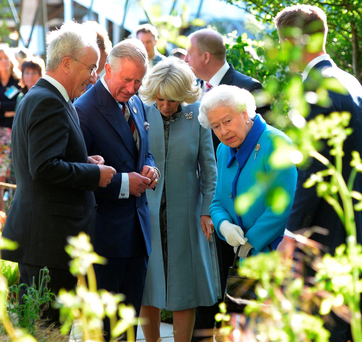 The Prince of Wales (second left), Duchess Of Cornwall (third left) and Queen Elizabeth II (fourth left) attend the annual Chelsea Flower show