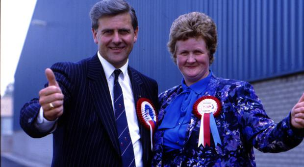 Elizabeth with her husband Jim on the campaign trail in the Eighties