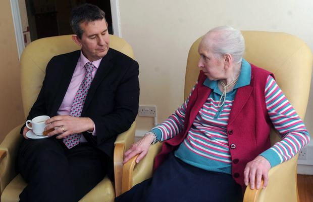 Resident Jean Faulkner at Westlands Care Home with Former Health Minister Edwin Poots