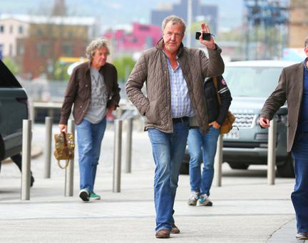 Jeremy Clarkson arrives at the Odyssey Arena in Belfast