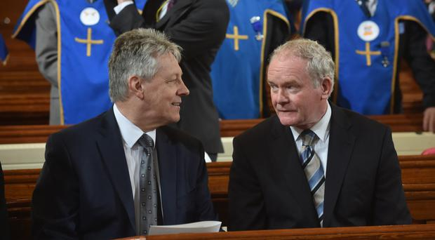 First Minister Peter Robinson and deputy First Minister Martin McGuinness during HRH Prince Charles visit to St Patrick's Church