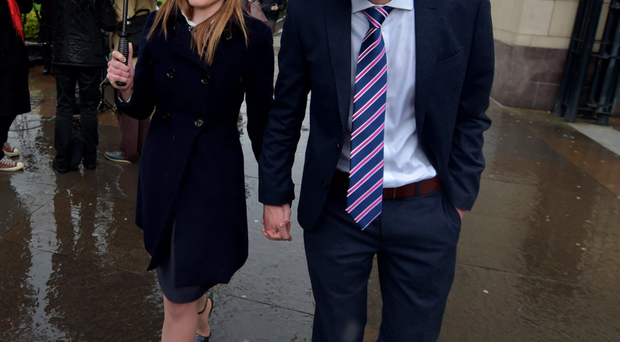 Daniel and Amy McArthur after the judge's ruling