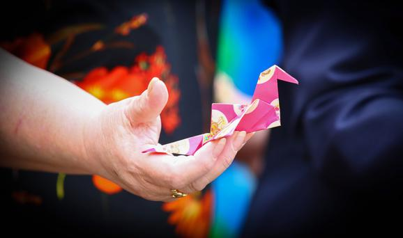 Some of the colourful paper cranes made by a group from Knocknagoney
