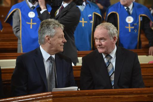 First Minister Peter Robinson and Deputy First Minister Martin McGuinness chatting during last week's royal visit