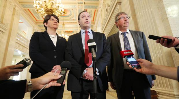Politicians faced the media yesterday to defend their party's stance on the failed debate: the DUP's Arlene Foster, Nigel Dodds and Sammy Wilson
