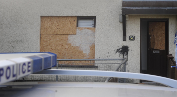 The damage caused to a house at Knockdhu Park in Larne by a UDA gang in March last year