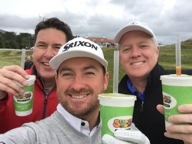 Graeme McDowell takes a selfie while enjoying a Sucos beverage