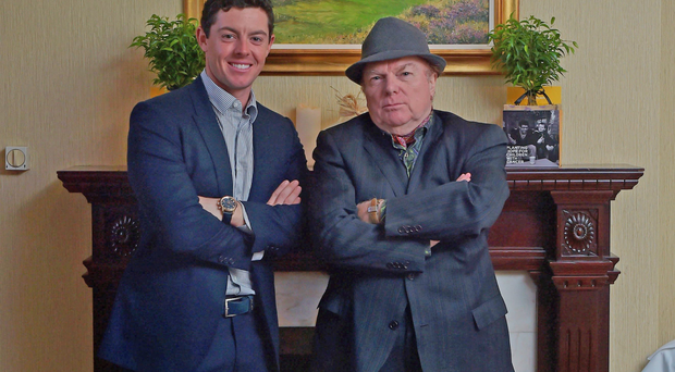 Rory McIlroy meets Van Morrison at the Slieve Donard Hotel yesterday