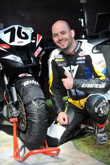 French rider Franck Petricola with his bike
