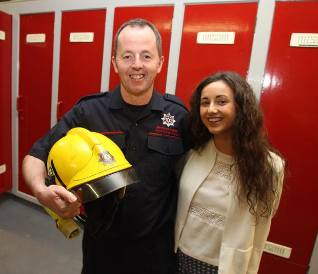 Firefighter Martin Campbell and his daughter Rebecca