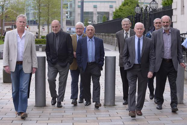 Members of the 'Hooded Men' outside court yesterday