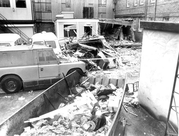 The devastation a 1985 IRA mortar attack on Newry police station caused