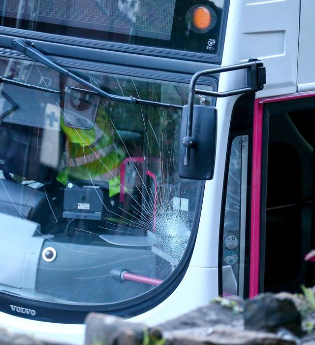 Police attended the scene of a crash last night believed to have involved a bus and a pedestrian. The front window of the bus was damaged