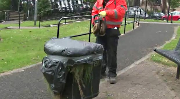 The offending rubbish bin is dealt with at last