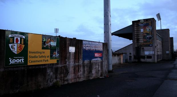 A view of the main stand at Casement Park in Belfast