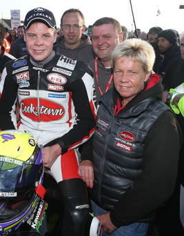 Motorcyclist Jamie Hamilton with his mum yesterday, shortly before he was seriously injured close to the 11th Milestone in the Senior TT race