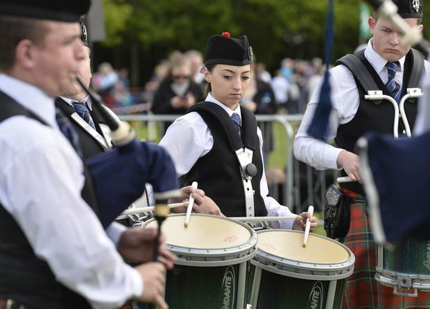Drummer from the Oban Pipe band in Scotland