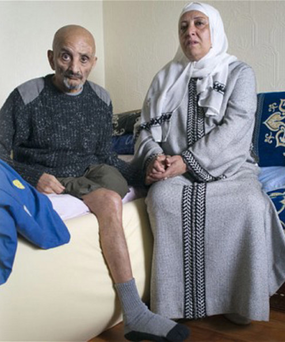 Bombing victim Zaoui Berezag at home with his wife Gemma