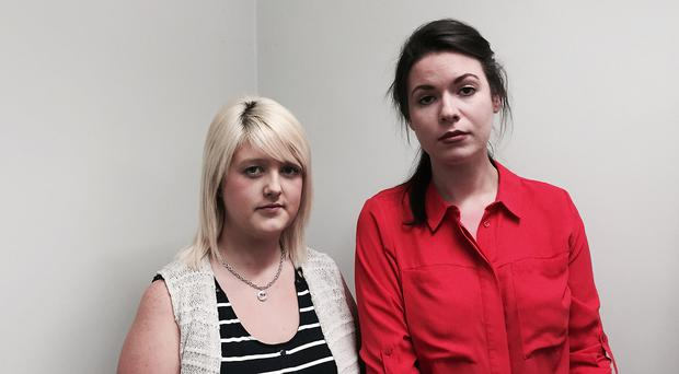 Sarah Ewart, left, who had to travel to England to have an abortion in 2013, with Grainne Teggart from Amnesty International