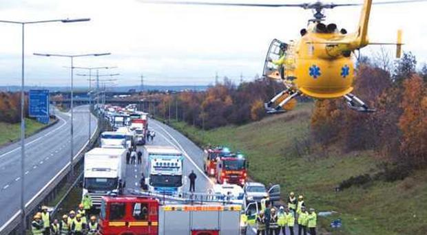 An air ambulance at the scene of a road traffic accident in Essex