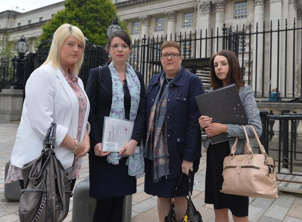 Sarah Ewart outside court with Grainne Teggart of Amnesty International, and Jane Christie and Laura Cunningham of Johnson's law