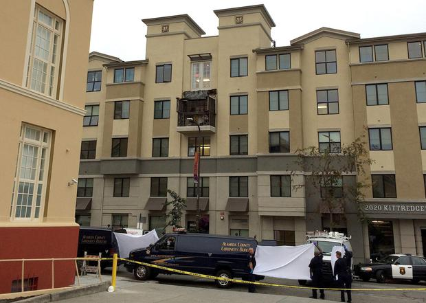 The remains of the balcony from which six students fell to their deaths at a 21st birthday party in California