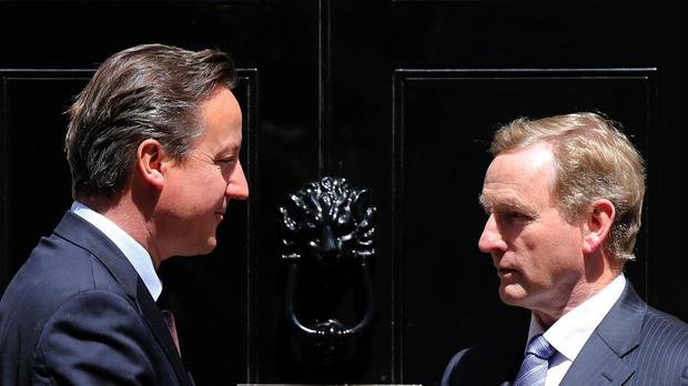 Prime Minister David Cameron shakes the hand of Irish Taoiseach Enda Kenny at 10 Downing Street