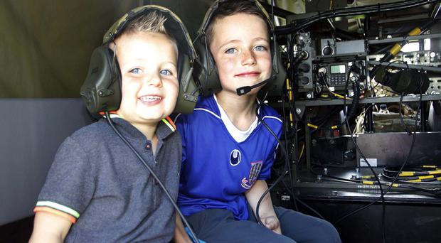 Kenzie and Charlie Mc Fall at Armed Forces Day at the Ballymena Showgrounds