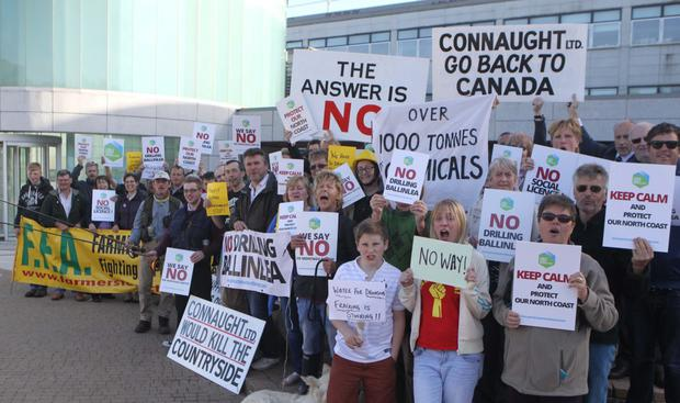 A large group of protesters gathered outside a meeting of Causeway Coast and Glens Borough Council in Coleraine to protest against fracking at Ballinlea borehole in North Antrim