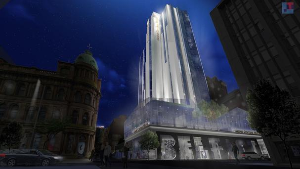 An artist's impression (issued by Hastings Hotels) of the firm's proposed transformation of the Windsor House in Belfast