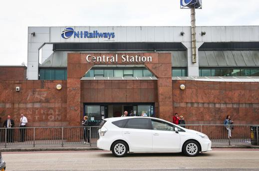 A taxi outside Central Station in Belfast yesterday — where they are no longer able to pick up