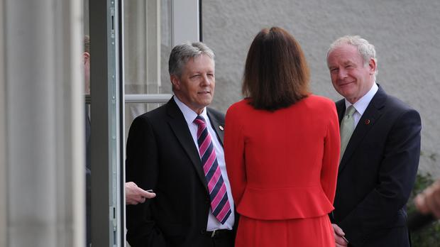 The latest exchange between Martin McGuinness (right) and Theresa Villiers was less than cordial