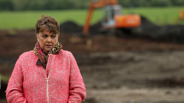 Maria Lynskey on farmland in Coghalstown, Co Meath, as searchers hunt for the body of her uncle, Joe Lynskey