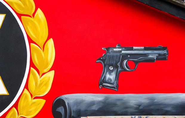A gun on the UFF mural in the Newtownwards Road area of east Belfast