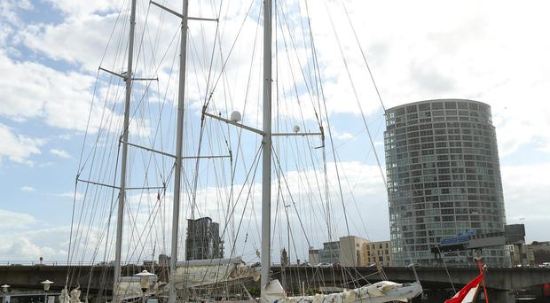 Dutch Tall Ship Eendracht moored beside the Odyssey Arena