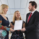 Rebekah Deacon is congratulated by award sponsor Roland Shaw, Head of Citi Legal, Belfast, and Ulster University Employability Development Manager Dr Sharon Milner
