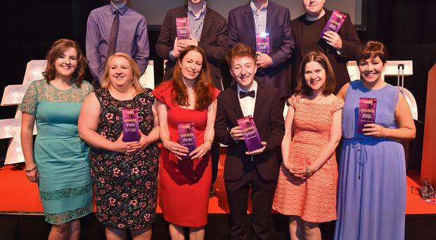 A jubilant Belfast Telegraph team (top row, from left) Adrian Rutherford, Jonathan McCambridge; Peter Rainey and John Mulgrew; (bottom row, from left) Claire Williamson; Kerry McKittrick; Editor Gail Walker, Kevin Scott; Margaret Canning and Maureen Coleman