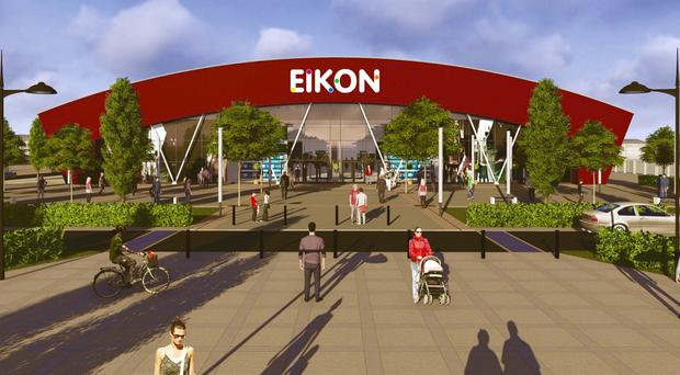A designer's drawing of the new Eikon Exhibition Centre at the former Maze prison site