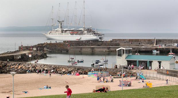 The Wind Surf luxury cruise liner was docked in the bay at Portrush yesterday when a man on board the ship died